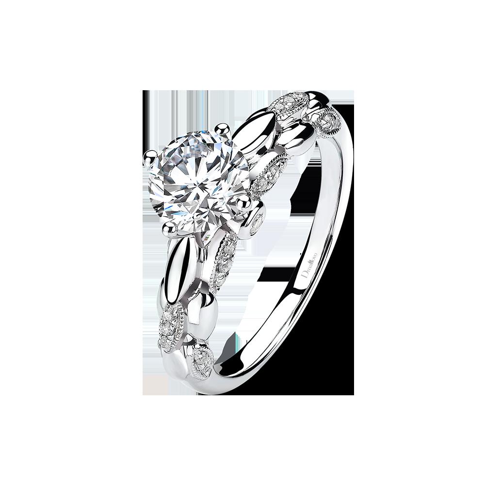广东Dmallovo(玛丽莱钻石)普罗旺斯系列绽放白18K金30分D色求婚钻戒