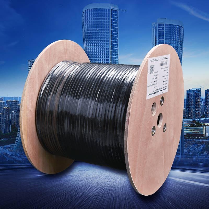 Gowone购旺CAT7 SFTP万兆7类双pingbi高速网线工程级0.6mm无氧铜木轴装305米商用级