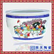 手绘百子图陶瓷大缸图片