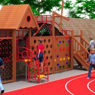 大型户外公园多功能木制游乐设备图片