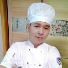 圆顶纯棉厨师帽餐饮厨房工作帽子