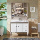 现代简约洗漱台洗手池台盆柜 落地式玉石面浴室柜洗脸盆柜