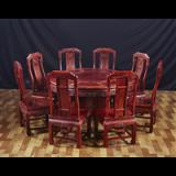 红木家具黄花梨圈椅 刺猬紫檀太师椅 靠背椅 茶几茶台实木三件套