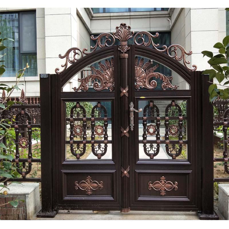 供应铝艺别墅大门铁艺庭院对开门欧式铝合金小区门铸铝院子乡村双开门