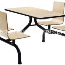 连体餐桌椅 弯曲木快餐桌椅广东弯木家具工厂批发价定制餐厅桌椅图片