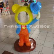 玻璃钢卡通熊面具雕塑图片
