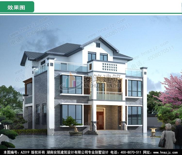 AZ019三层简约中式别墅图纸_好看的自建房效果图_布局合理