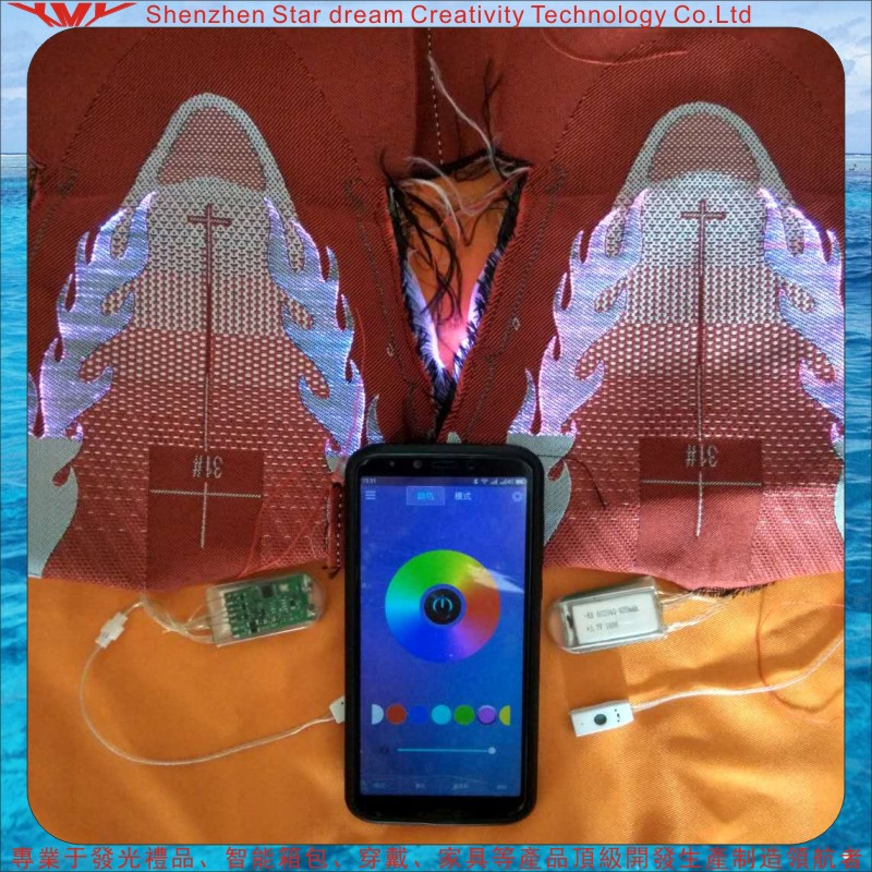 专业供应 LED智能蓝牙光纤鞋面工厂专业定制各种不同图案与功能