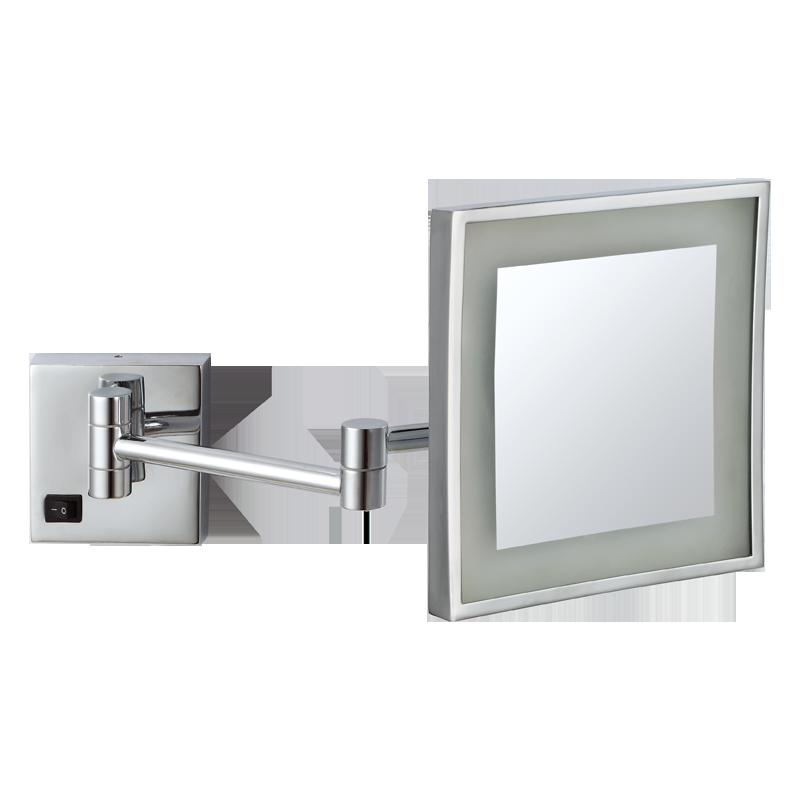 全铜浴室化妆镜伸缩镜梳妆镜壁挂折叠镜子卫生间放大镜美容镜 发光壁挂镜