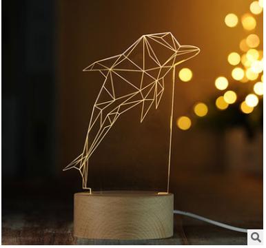 海豚装饰3D小夜灯实木质LED遥控台灯创意礼物灯喂奶灯1号仓库