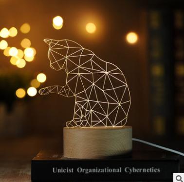 招财猫装饰3D小夜灯实木质LED遥控台灯创意礼物灯1号仓库