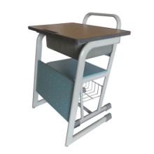 钢木小学生课桌椅,单人位钢木课桌,广东鸿美佳厂家专业生产供应钢木课桌椅批发