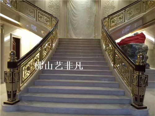 烟台铝艺楼梯,铝合金楼梯立柱,铝板雕刻楼梯扶手护栏