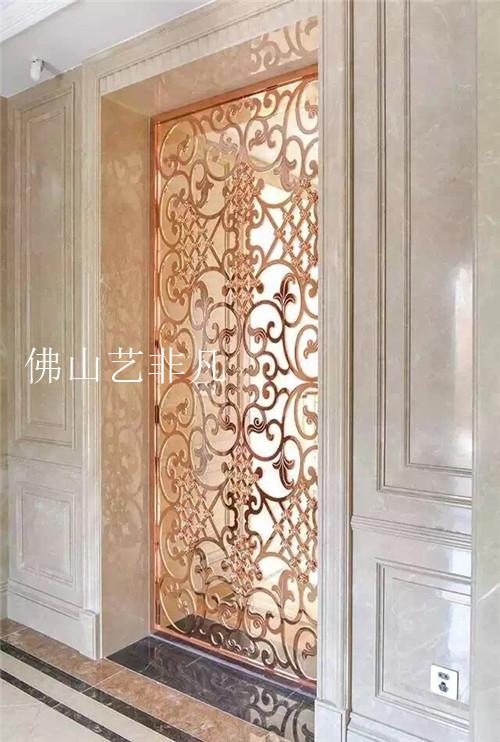 宜宾铝板雕刻屏风 平雕镂空 现代欧式屏风隔断 客厅酒店大堂门花屏风