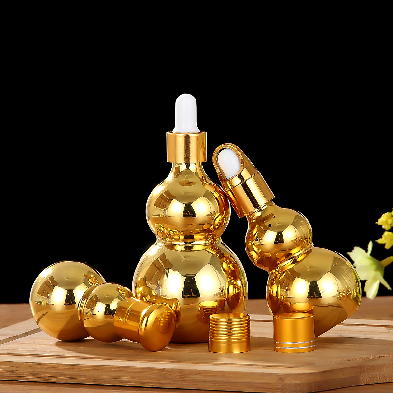 新款电镀金色单双葫芦玻璃精油空瓶葫芦精油瓶 电镀金色单双葫芦玻璃瓶
