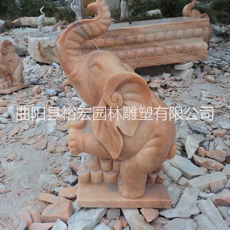 石雕小象晚霞红小象流水喷泉 石雕动物定做加工 园林景观饰品