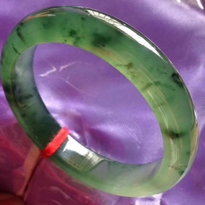 玉名坊翡翠 冰绿翡翠手镯 正圈58 色泽鲜艳水润光滑