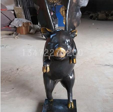 新款铜雕动物小飞猪雕塑工艺品 铜摆件热卖 厂家直销批发