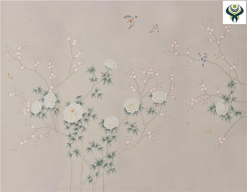 无锡丝绸手绘壁画【免费手绘小样】无锡琴棋壁画有限公司
