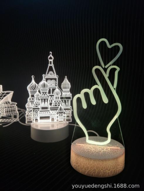 供应3D小夜灯 直销3D小夜灯 创意台灯礼品灯 护眼床头灯双 3D小夜灯厂家
