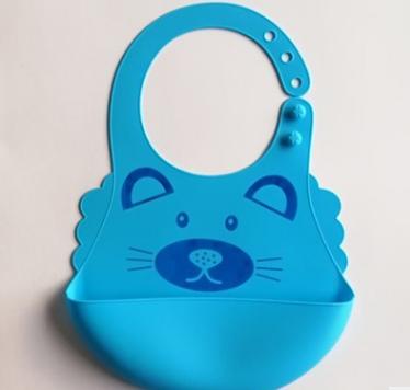 萌萌狮宝宝立体防水食饭兜、儿童卡通动物图案饭兜 硅胶婴儿围兜