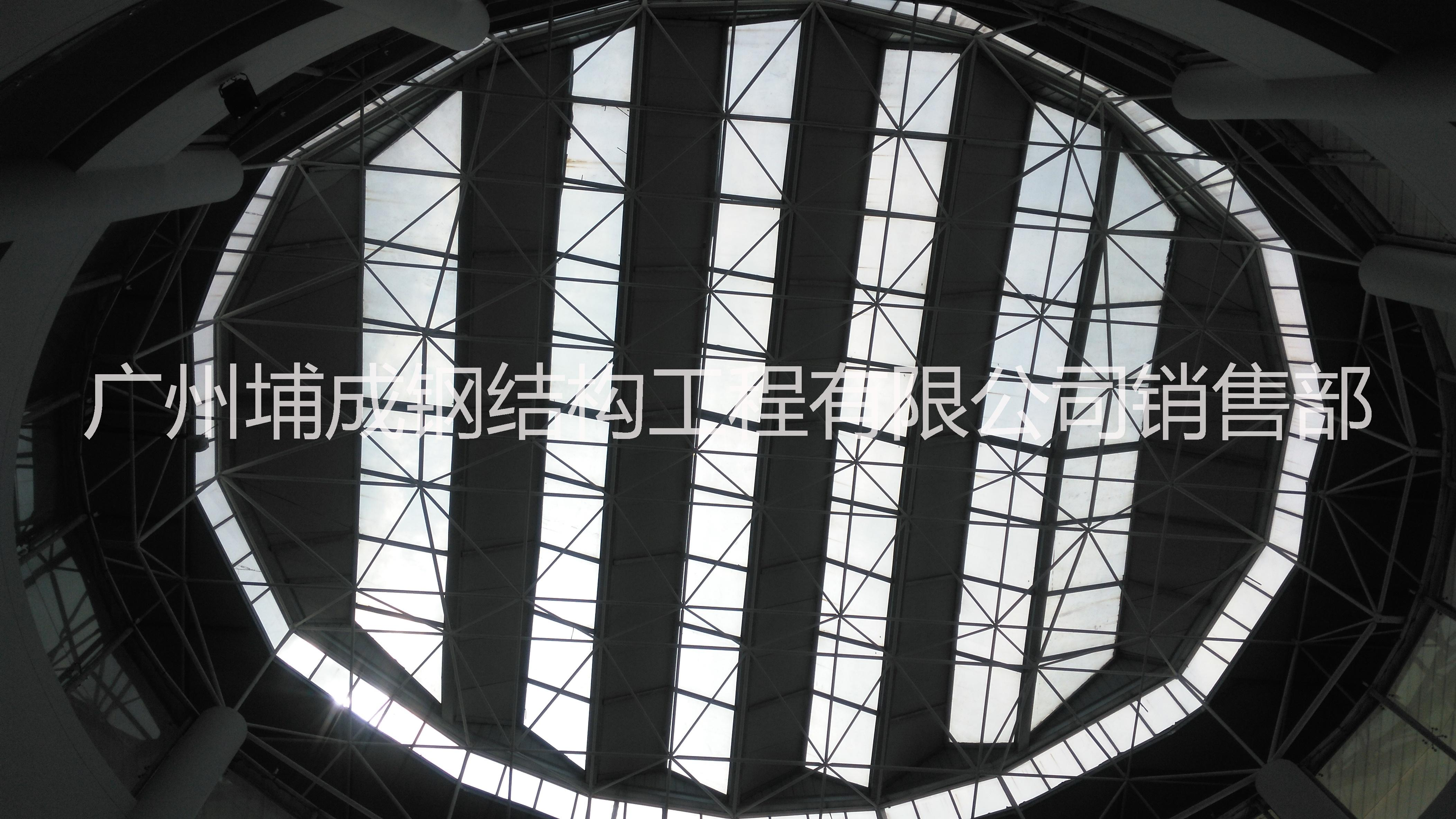 0大跨度广州采光玻璃顶工程,万达玻璃顶施工、报价