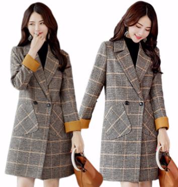 毛呢外套女秋冬新款2018格子大衣韩版中长款毛呢大衣女大码显瘦女
