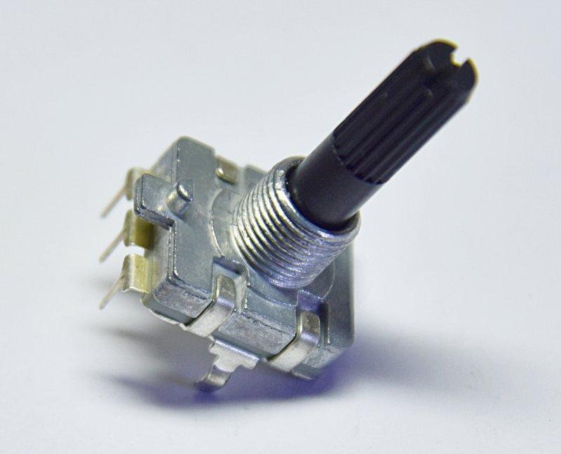 厂家生产16塑胶柄弯脚直脚旋转编码器带支架5脚立式轴套为7mm