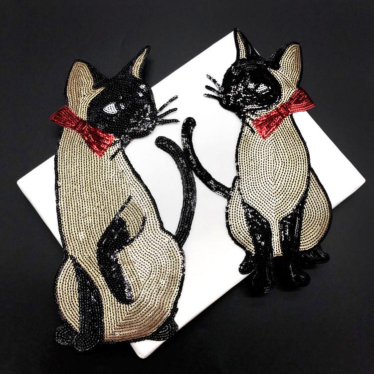 猫亮片刺绣布贴衣服外套装饰辅料背胶补丁贴宝宝毛衣修补贴章热销