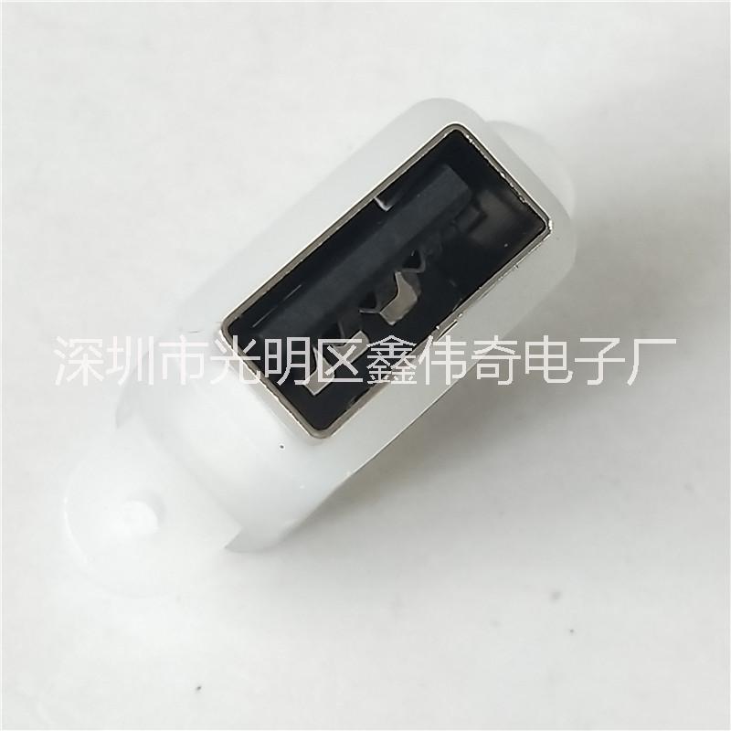 MICRO防水母座 USB2.0 A型母座 180度4P直插直边DIP 带防水胶圈