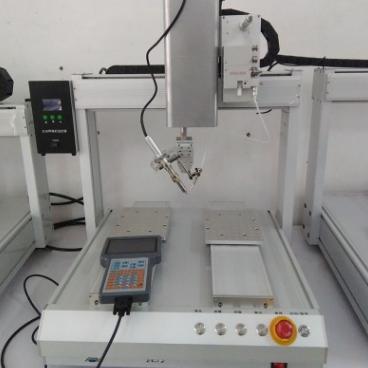 高频加热自动焊锡机精准送锡不掉温美兰达四轴单头双工位焊锡机