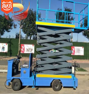 定制移动剪叉式升降机货梯举升机物料提升机 橡胶充气轮胎移动