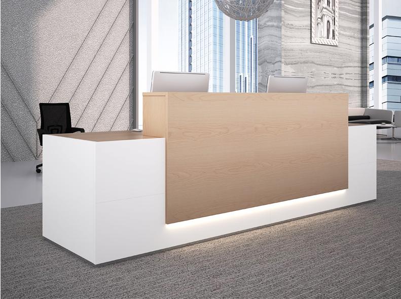 厂家直销时尚白色办公室办公前台桌接待台迎宾咨询台