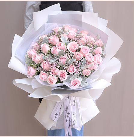 情人节33朵粉红玫瑰鲜花速递生日北京上海广州深圳同城花店送花束新疆内蒙西藏海南