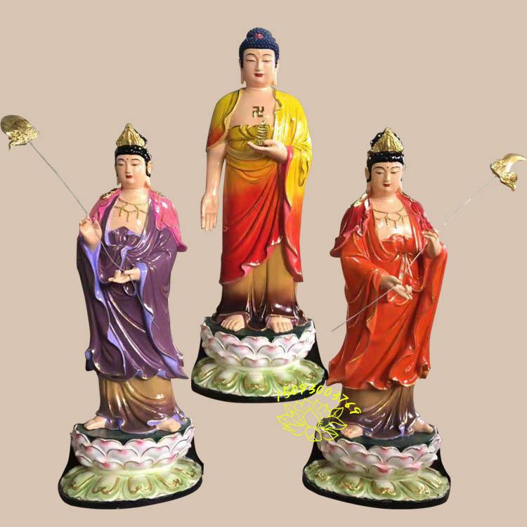 树脂东方三圣佛像|木雕日月菩萨雕像图片|佛教东方三圣佛像批发|玻璃钢药师三尊佛像|山东佛像定制