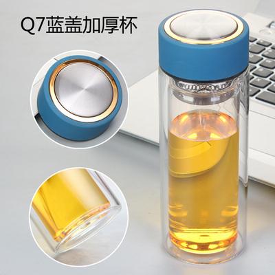 双层玻璃杯定制logo 广告礼品水杯办公杯子印字透明玻璃杯批发