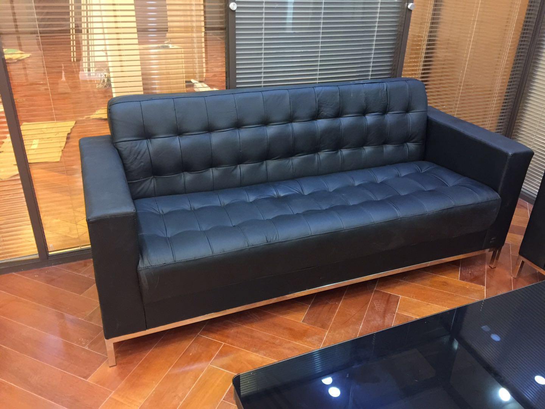 沙发 高档办公沙发 三位座式办公沙发 皮革沙发 办公接待沙发
