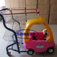 厂家直销商场手推购物车带儿童座位手推车卡通彩色手推车