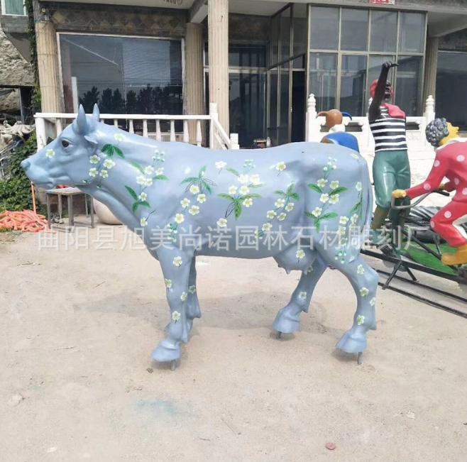 玻璃钢彩绘牛奶牛雕塑 园林农场奶牛水牛雕塑 牧场广场彩绘牛摆件