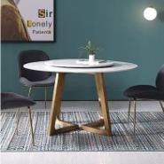 轻奢餐桌圆形简约现代不锈钢图片