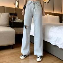 广州春秋季女式牛仔裤厂家生产批发市场多少钱一件