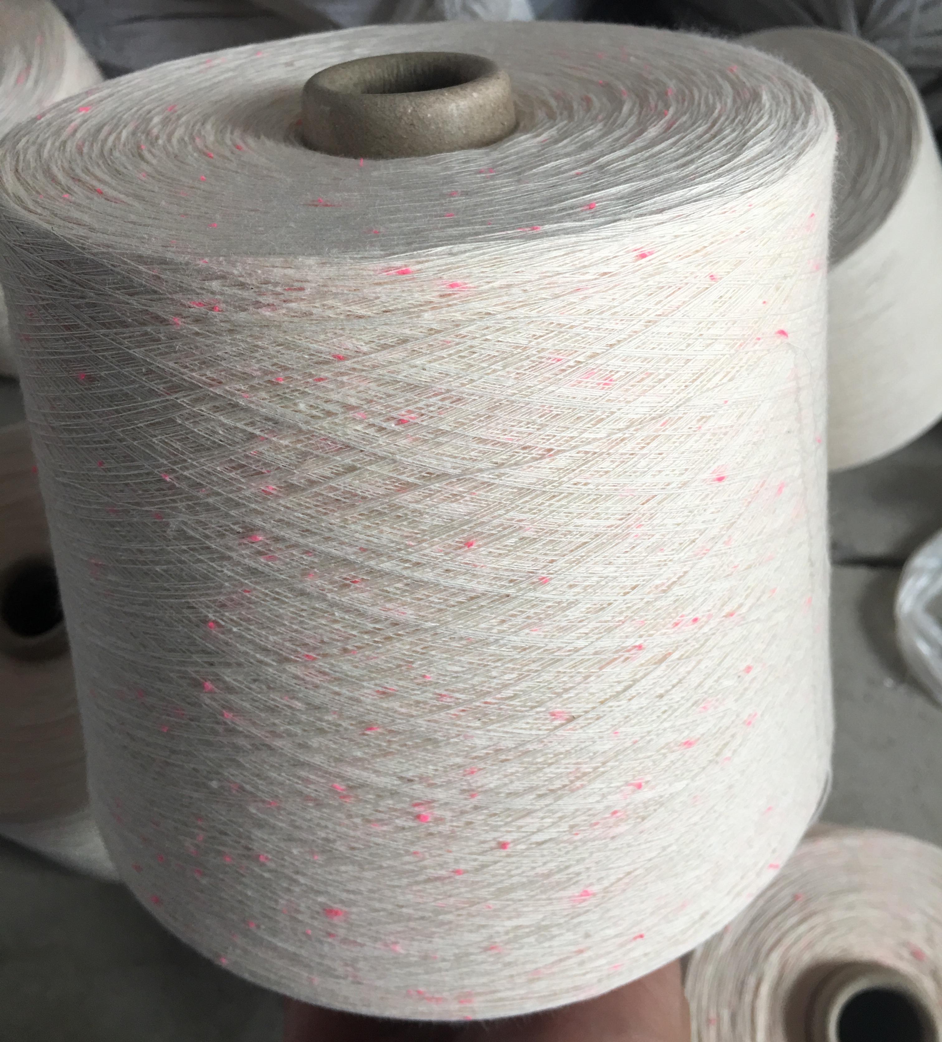 荧光点子纱 高品质棉加荧光点子纱 涤纶彩点可以定做