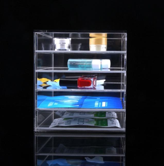 五层抽屉收纳盒 透明亚克力收纳盒 化妆品收纳盒 家用护肤品收纳盒 桌面分层式收纳盒 加工定制  化妆品收纳盒报价