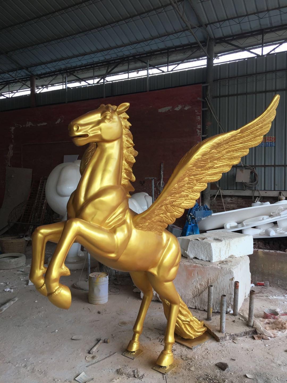 玻璃钢飞马雕塑摆件园林景观圣兽雕塑