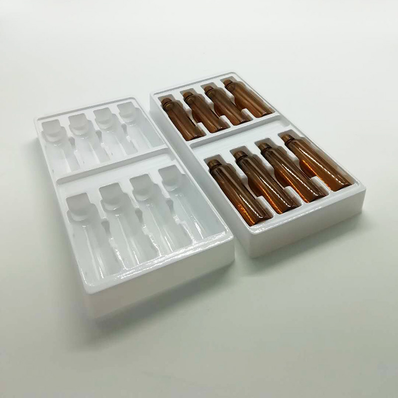 实力厂家量大从优定做医药用品吸塑盒 现模生产白色PVC口服液瓶吸塑内托