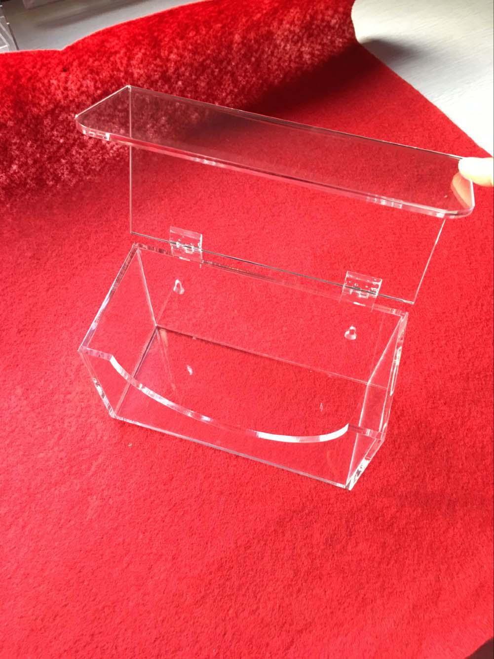 安君有机玻璃亚克力制品厂定制加工活页上翻逆转棉签 口罩收纳盒
