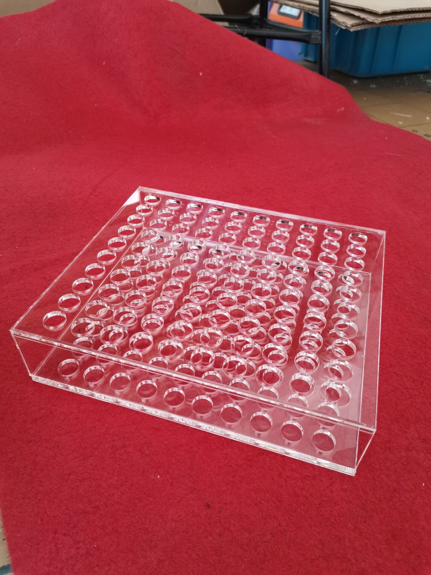 宁波安君定制加工亚克力有机玻璃塑料制品双层化妆工具展示架 100孔试管架