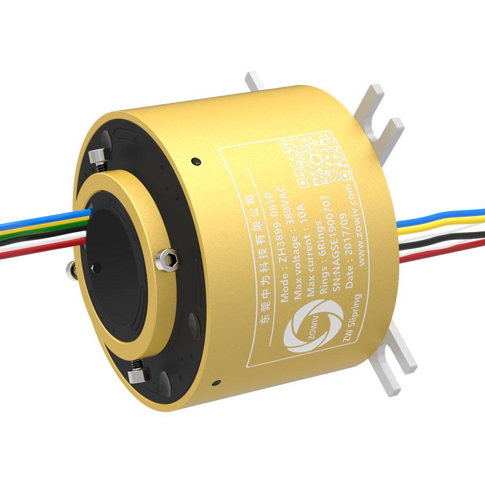 中为孔径38.1mm防水导电滑环在端面加工机、热滚机和盾构机中的应用