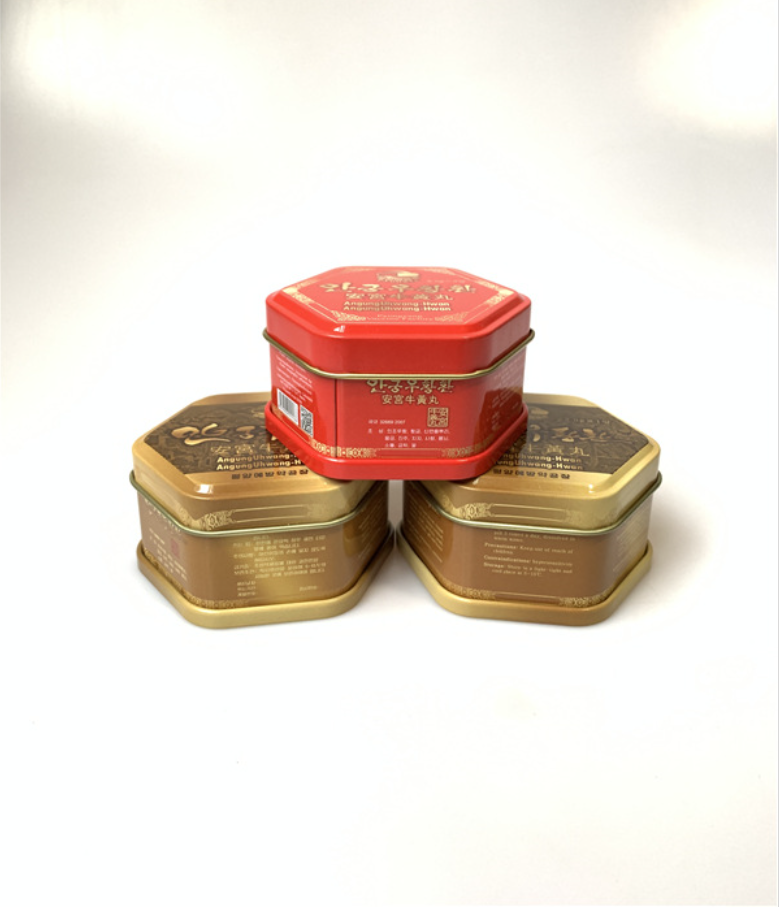 厂家定制药品包装盒 安宫牛黄丸六角形铁盒 六角罐马口铁金属盒