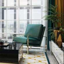 后现代轻奢沙发椅港式不锈钢镀金单椅 后现代轻奢沙发椅港式不锈钢镀金椅